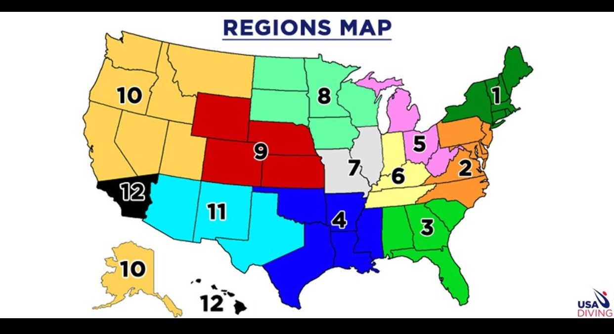 JO Divers Team Information GC Divers - Map of usa with zones